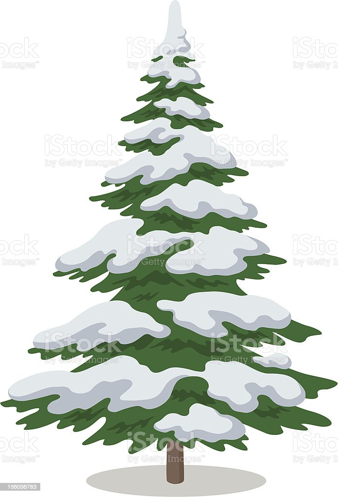An illustration of a Christmas tree with snow vector art illustration