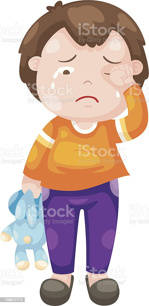 An illustration of a crying boy royalty-free stock vector art