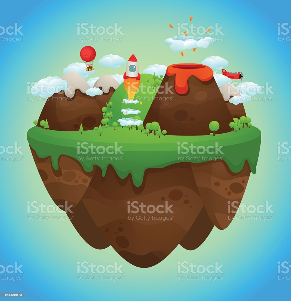 An illustration of a cute floating island royalty-free stock vector art