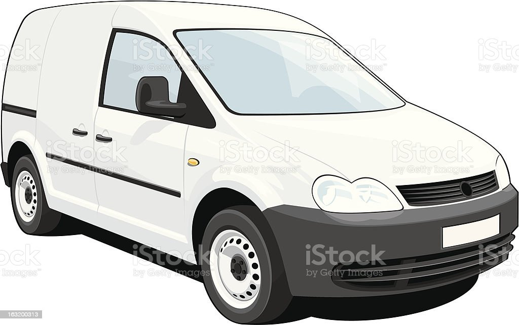 An illustration of a delivery van on a white background vector art illustration