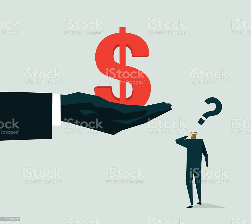 An illustration of a dollar sign and a man vector art illustration