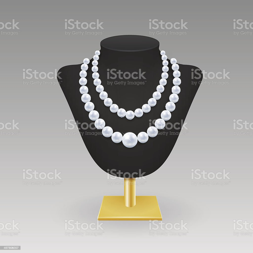 An illustration of a double pearl necklace on a stand vector art illustration