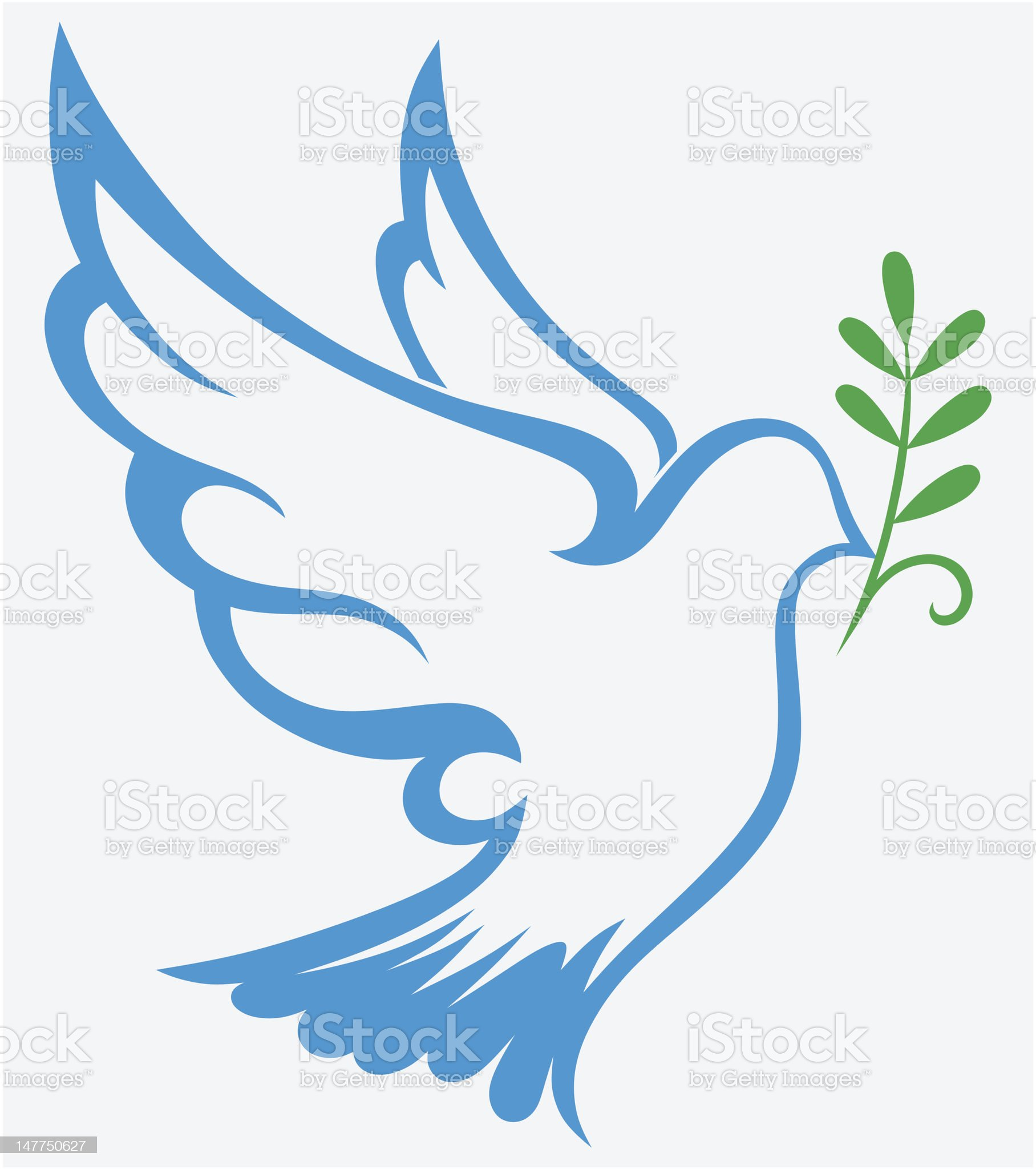 An illustration of a dove carrying a leaf royalty-free stock vector art