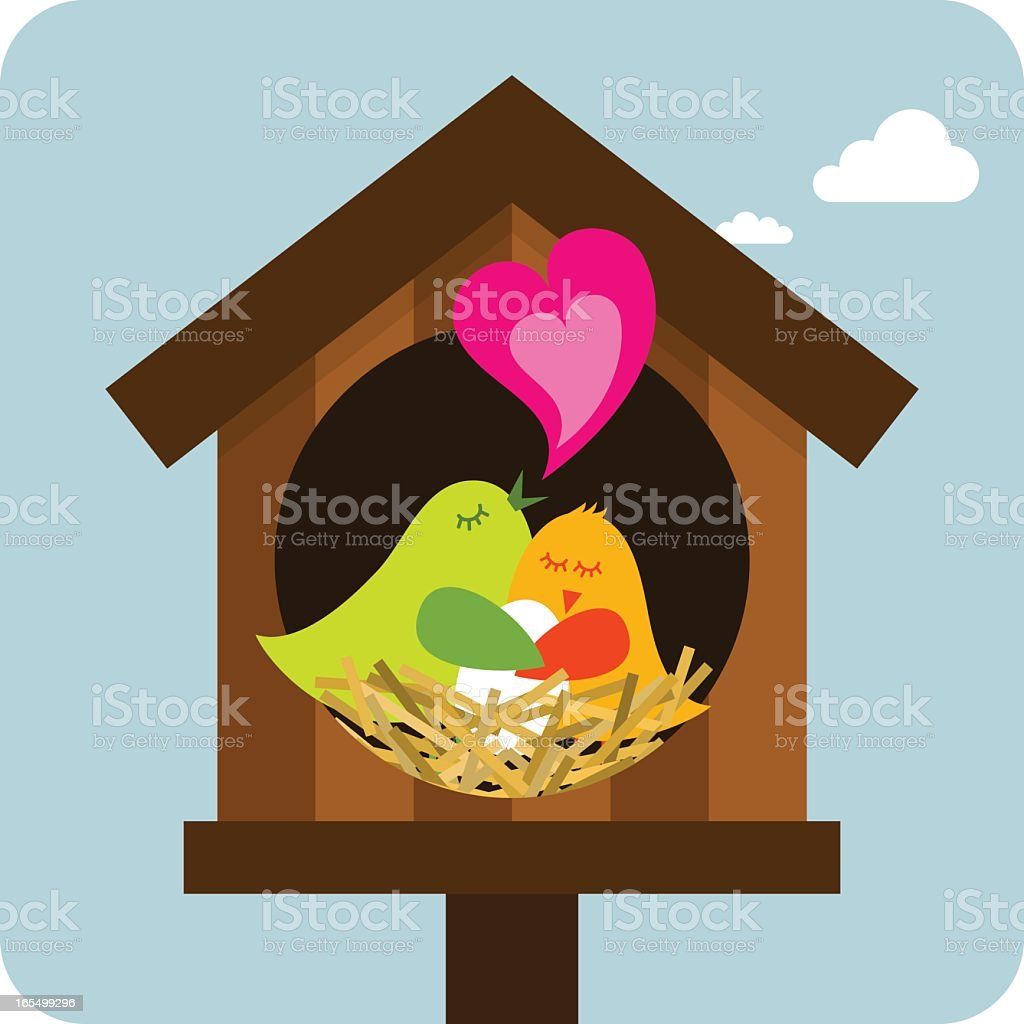 An illustration of a family of birds royalty-free stock vector art
