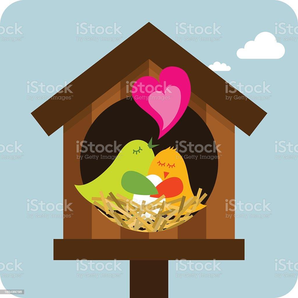 An illustration of a family of birds vector art illustration