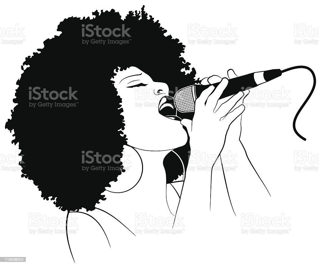 An illustration of a female jazz singer holding a microphone vector art illustration