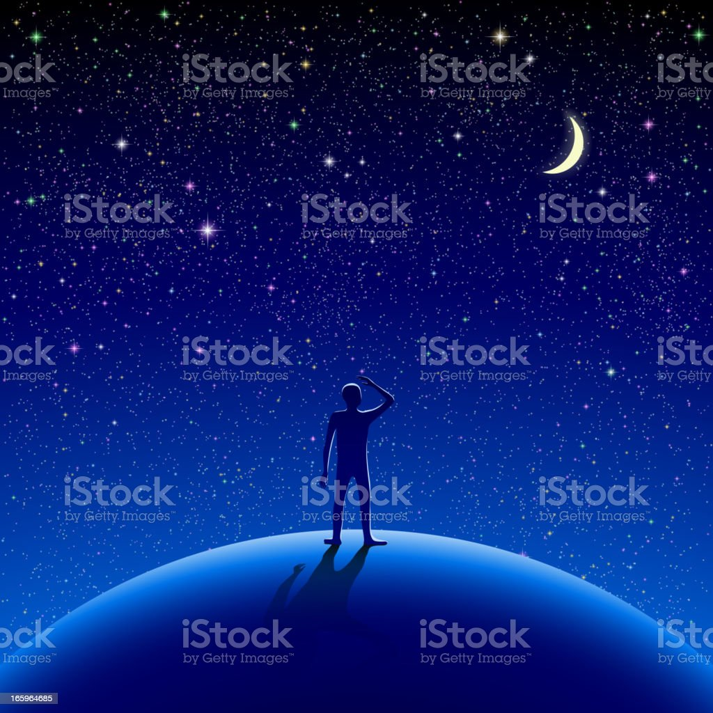 An illustration of a figure looking at the stars at night royalty-free stock vector art