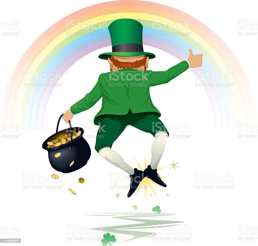 An illustration of a happy leprechaun royalty-free stock vector art