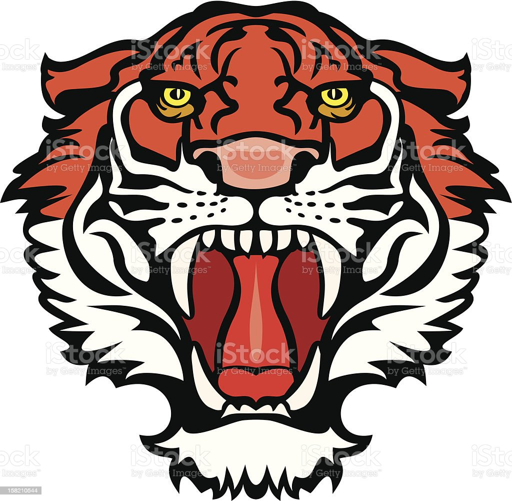 An illustration of a head of a tiger vector art illustration