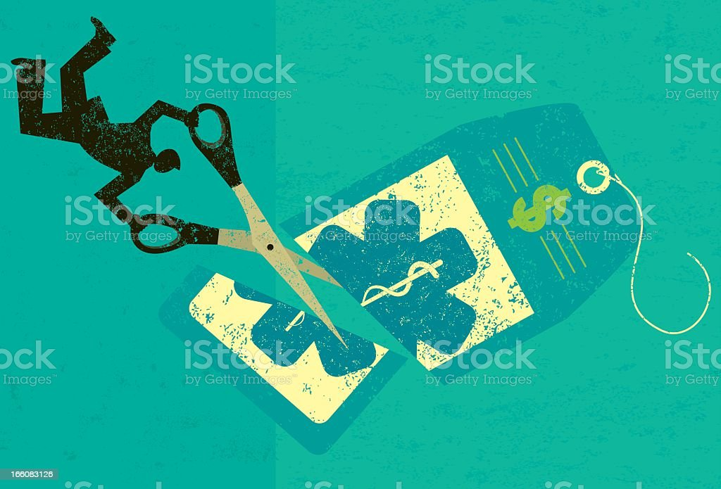 An illustration of a healthcare cost being cut by a scissor royalty-free stock vector art