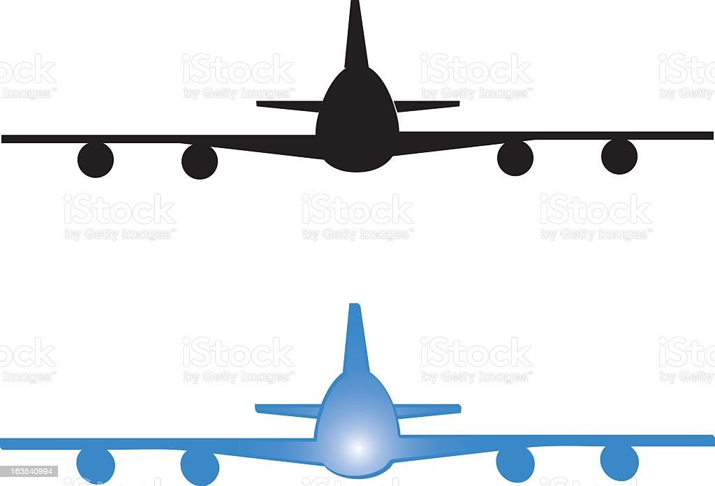 An illustration of a huge airplane about to land vector art illustration