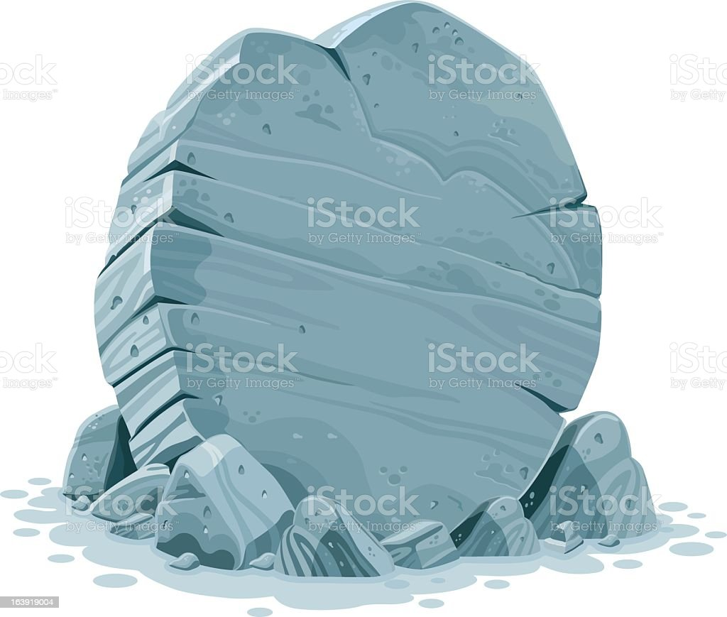 An illustration of a large grey stone vector art illustration