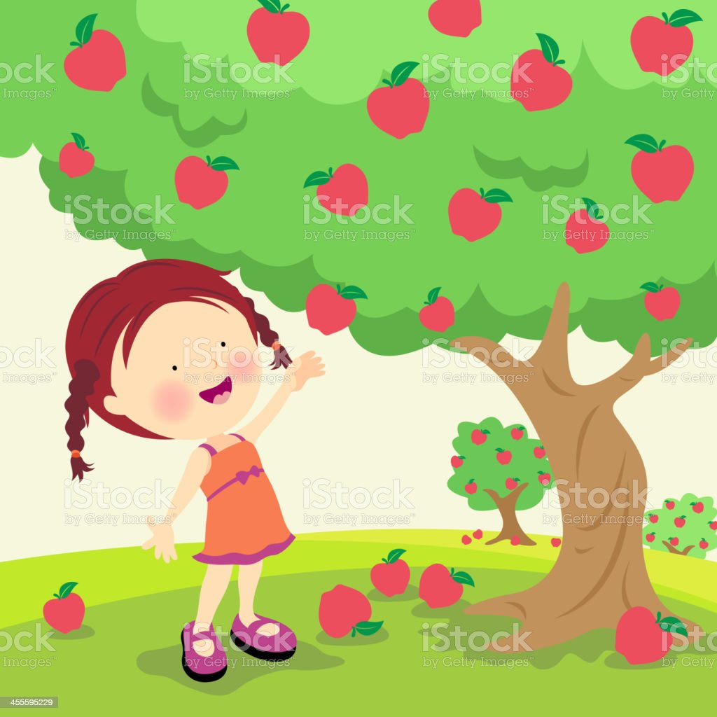An illustration of a little girl picking ripe apples vector art illustration