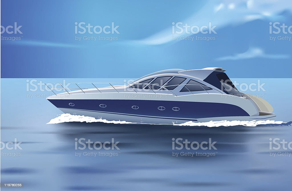 An illustration of a luxury boat cruising in the sea royalty-free stock vector art