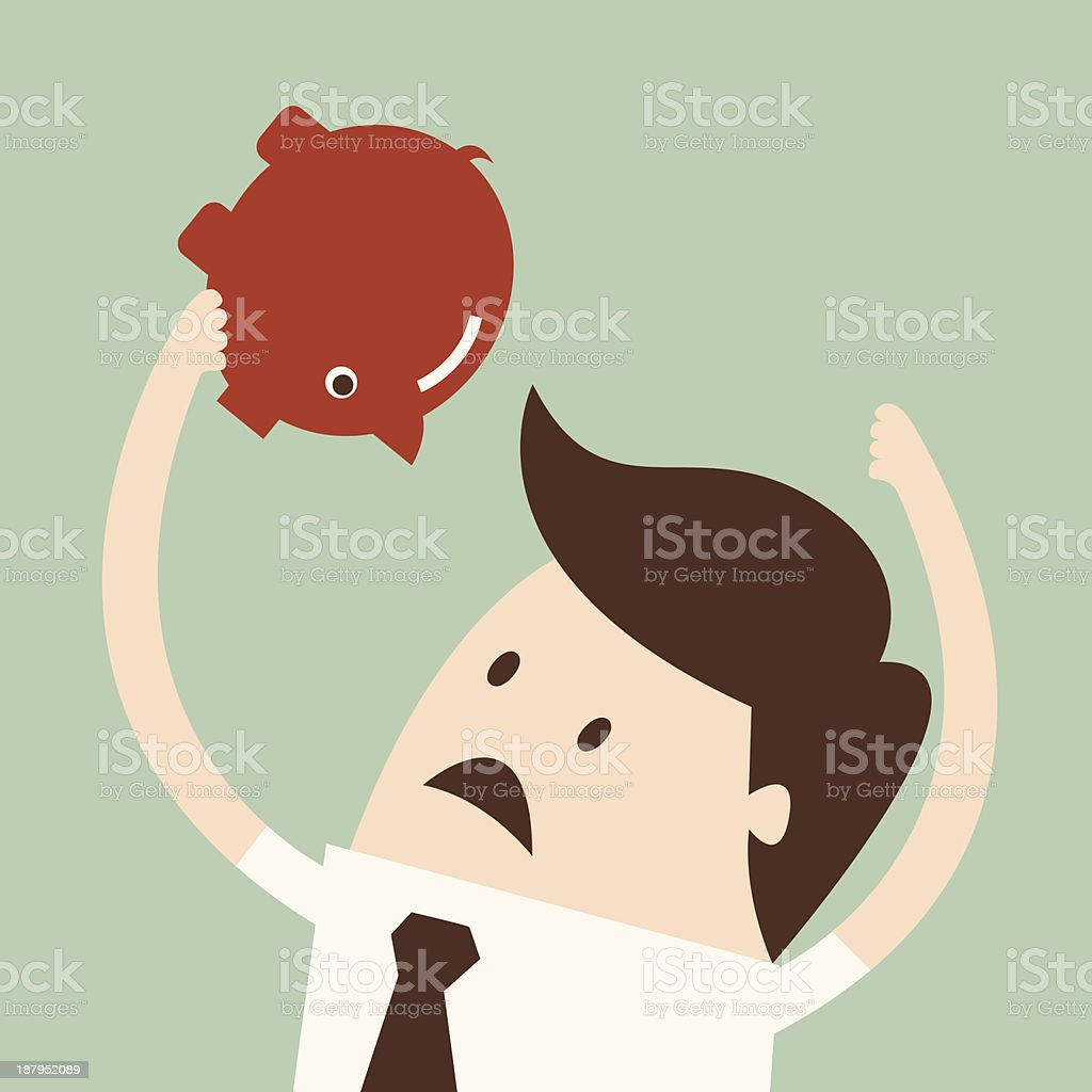 An illustration of a man holding up his empty piggy bank vector art illustration