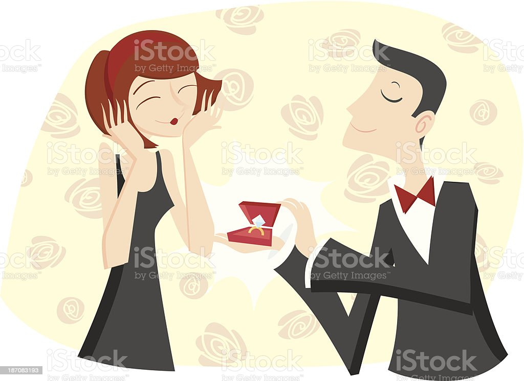 An illustration of a man proposing on one knee vector art illustration
