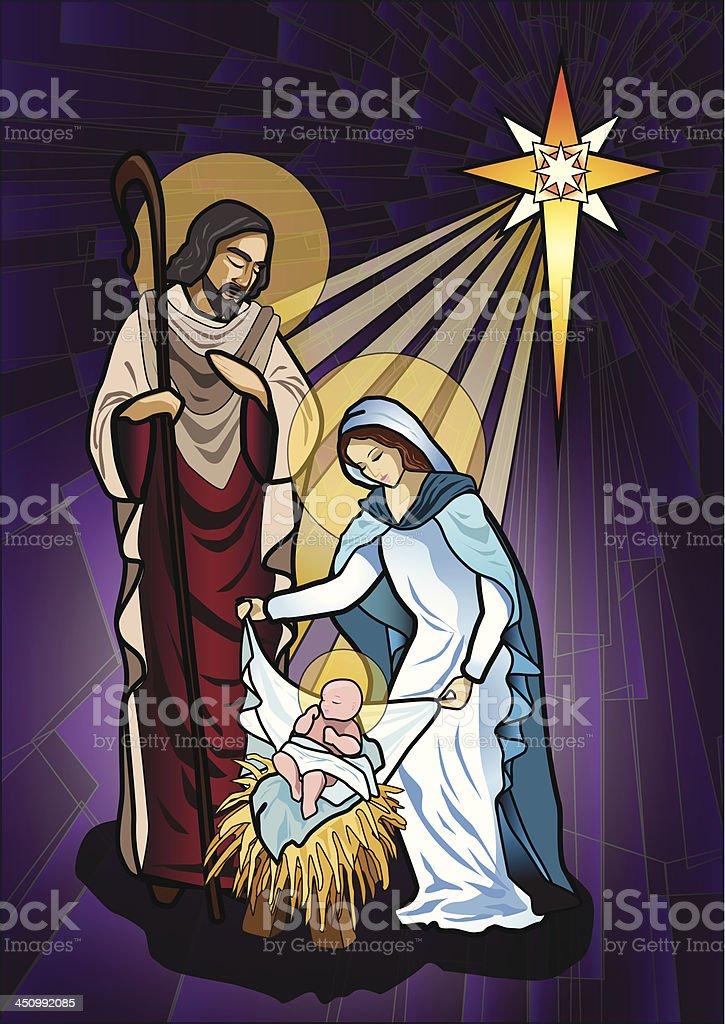 An illustration of a nativity scene vector art illustration