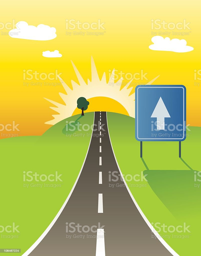 An illustration of a one way road vector art illustration