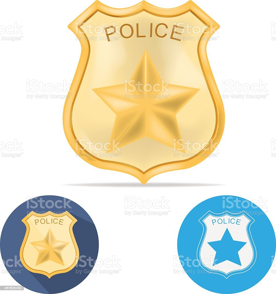 An illustration of a police badge of different ranks vector art illustration