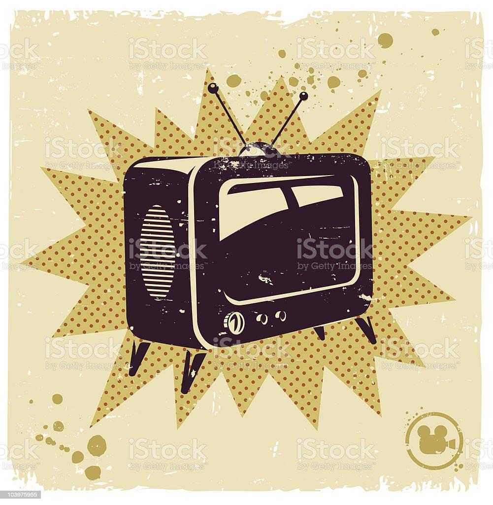 An illustration of a retro television vector art illustration