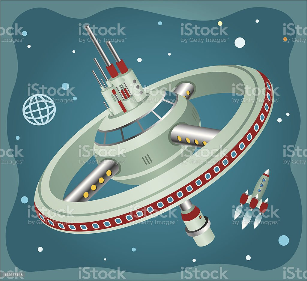 An illustration of a rocket and a space station royalty-free stock vector art