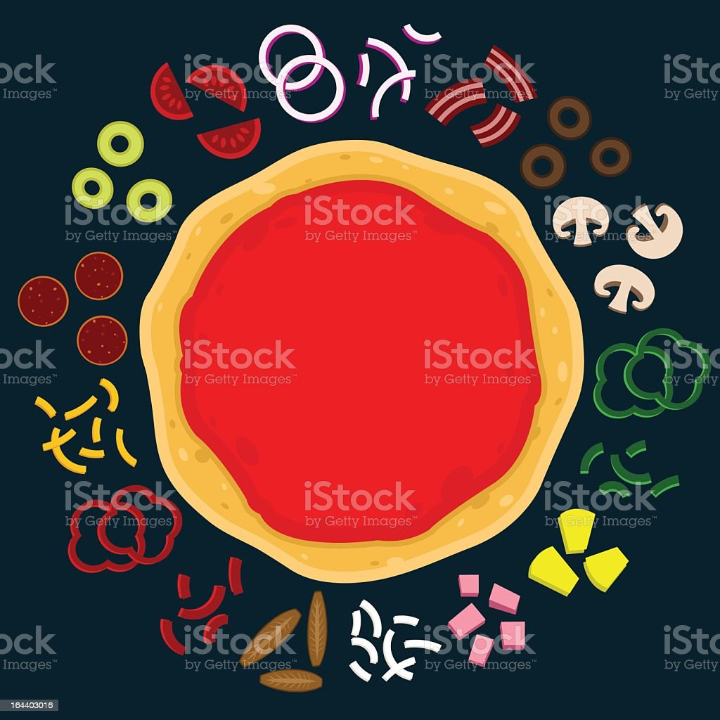 An illustration of a round pizza with various ingredients royalty-free stock vector art