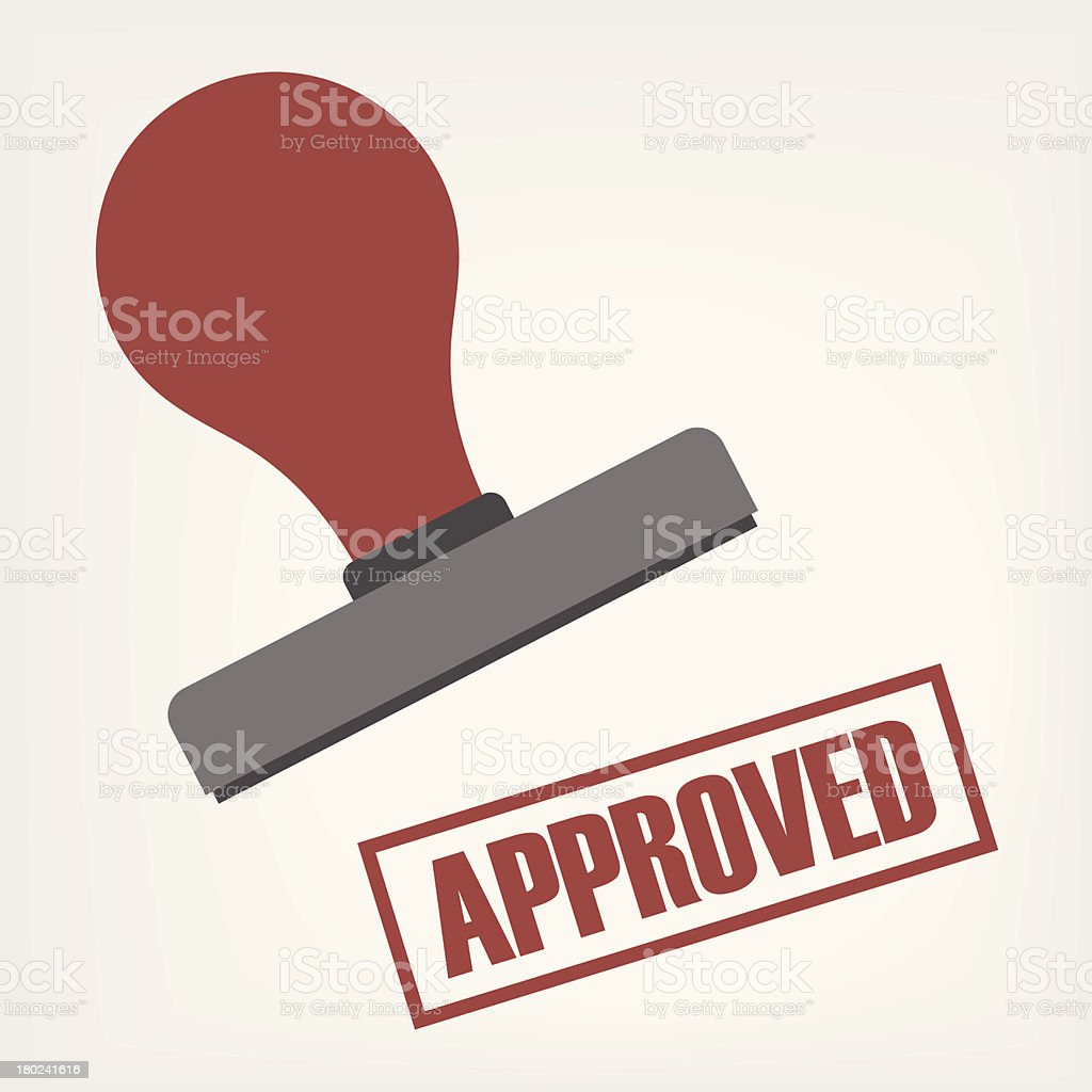 An illustration of a rubber stamp stamping 'Approved' in red vector art illustration
