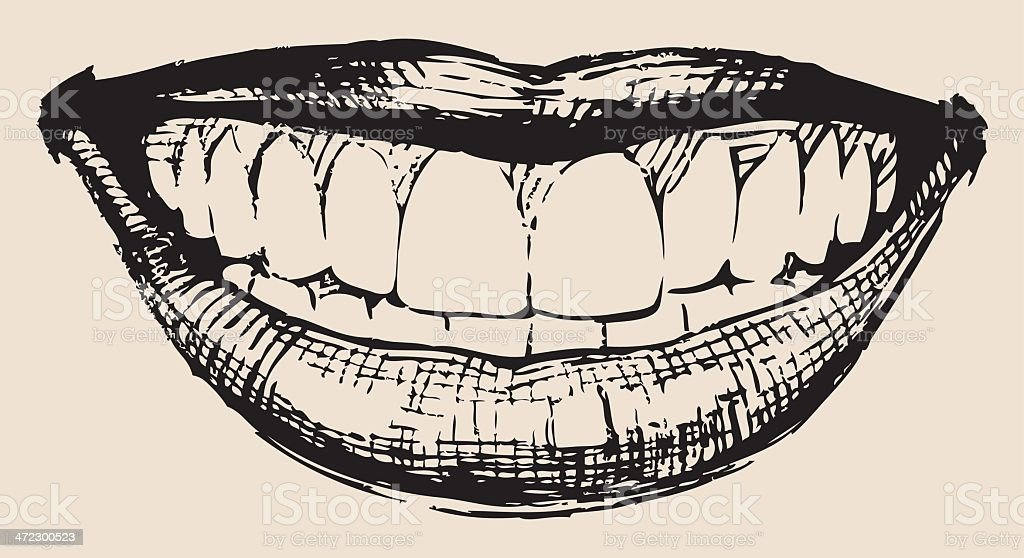 An illustration of a smile in black and white vector art illustration