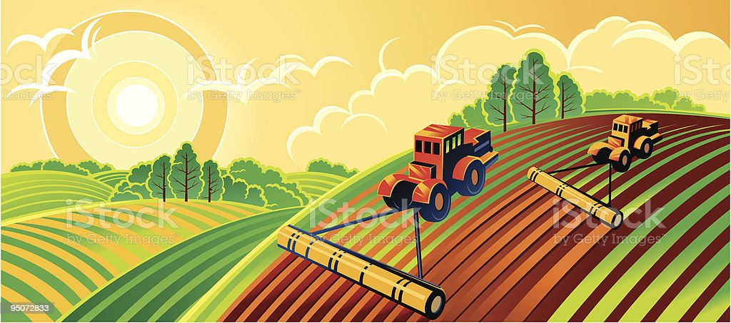 An illustration of a spring country landscape royalty-free stock vector art