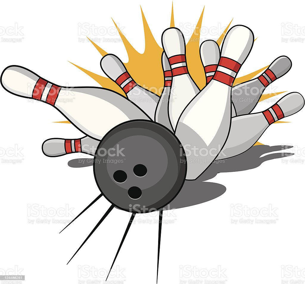 An illustration of a strike during bowling royalty-free stock vector art