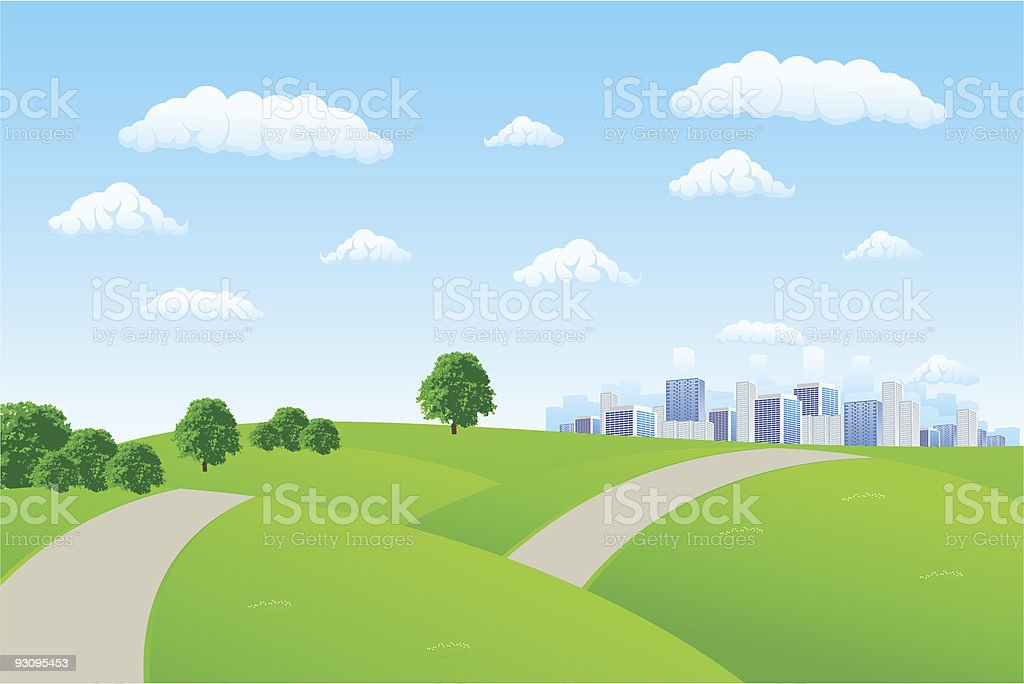 An illustration of a summer cityscape with buildings vector art illustration