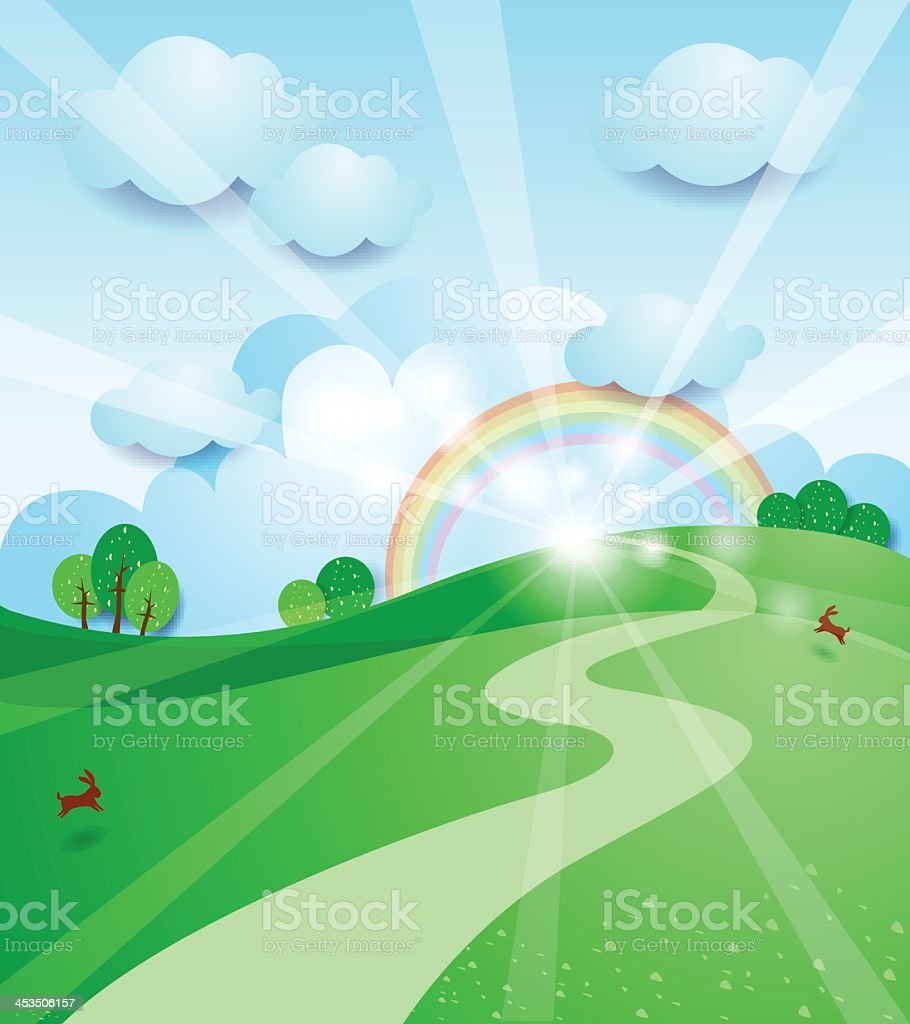 An illustration of a sunrise and a rainbow in a countryside royalty-free stock vector art