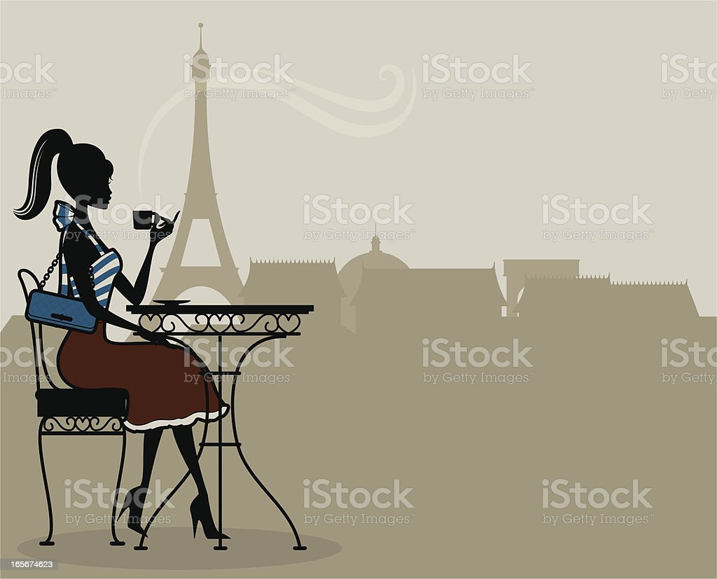 An illustration of a woman having french coffee in Paris royalty-free stock vector art