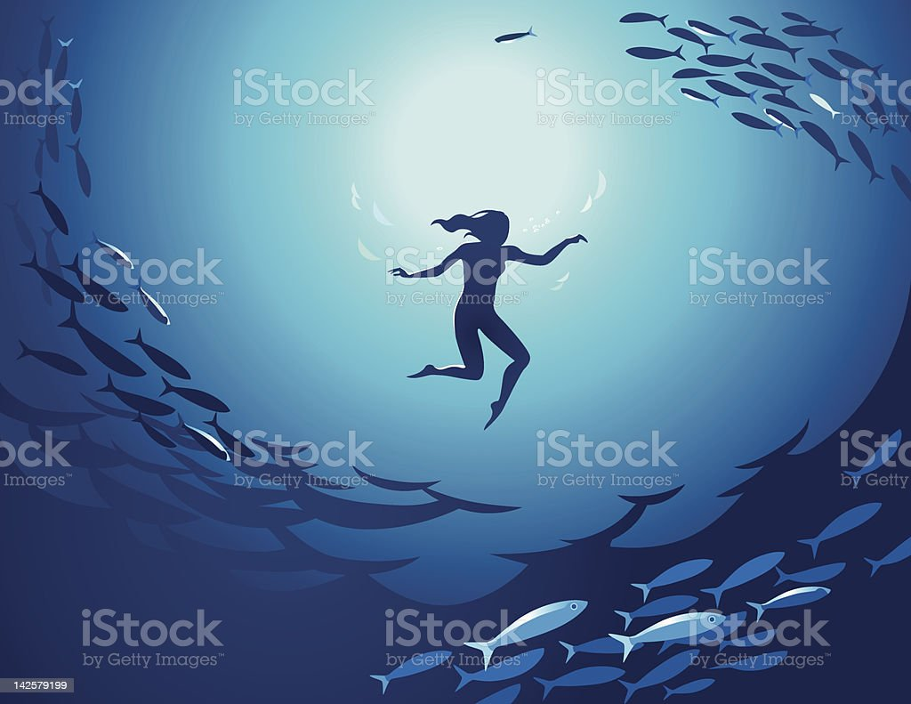 An illustration of a woman swimming in the deep vector art illustration