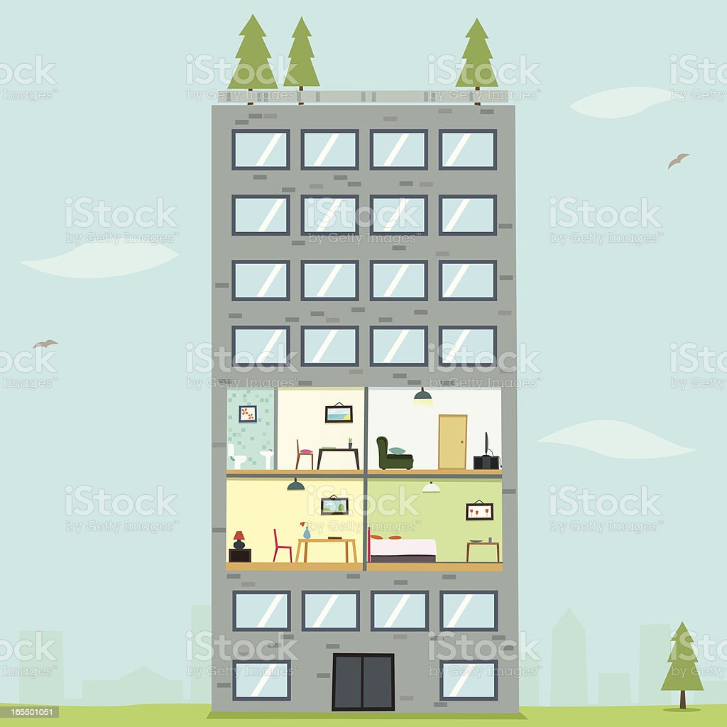 An illustration of an apartment with a pine tree vector art illustration