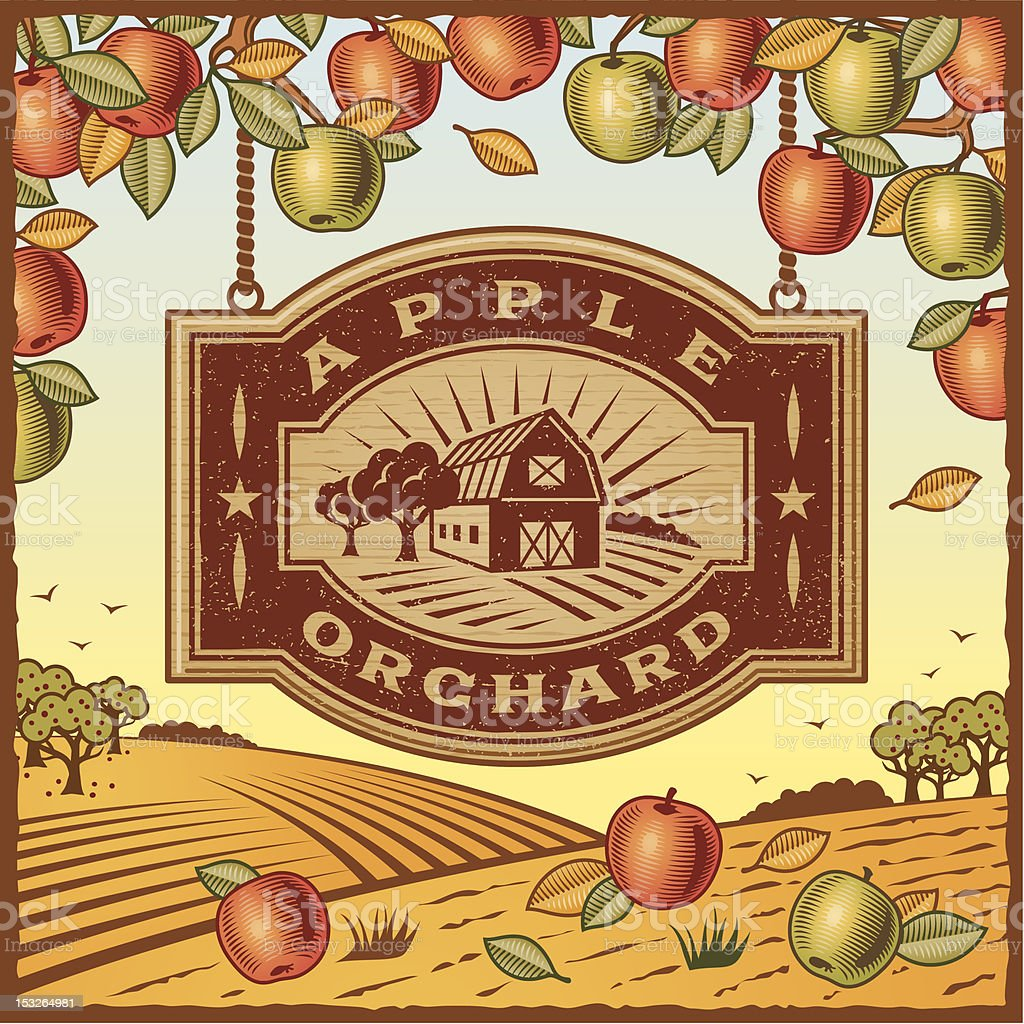 An illustration of an apple orchard sign vector art illustration