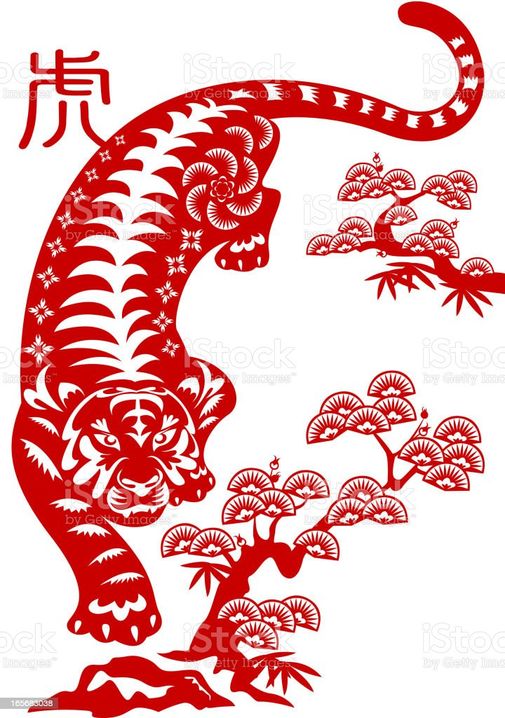 An illustration of an Asian tiger next to trees in red royalty-free stock vector art