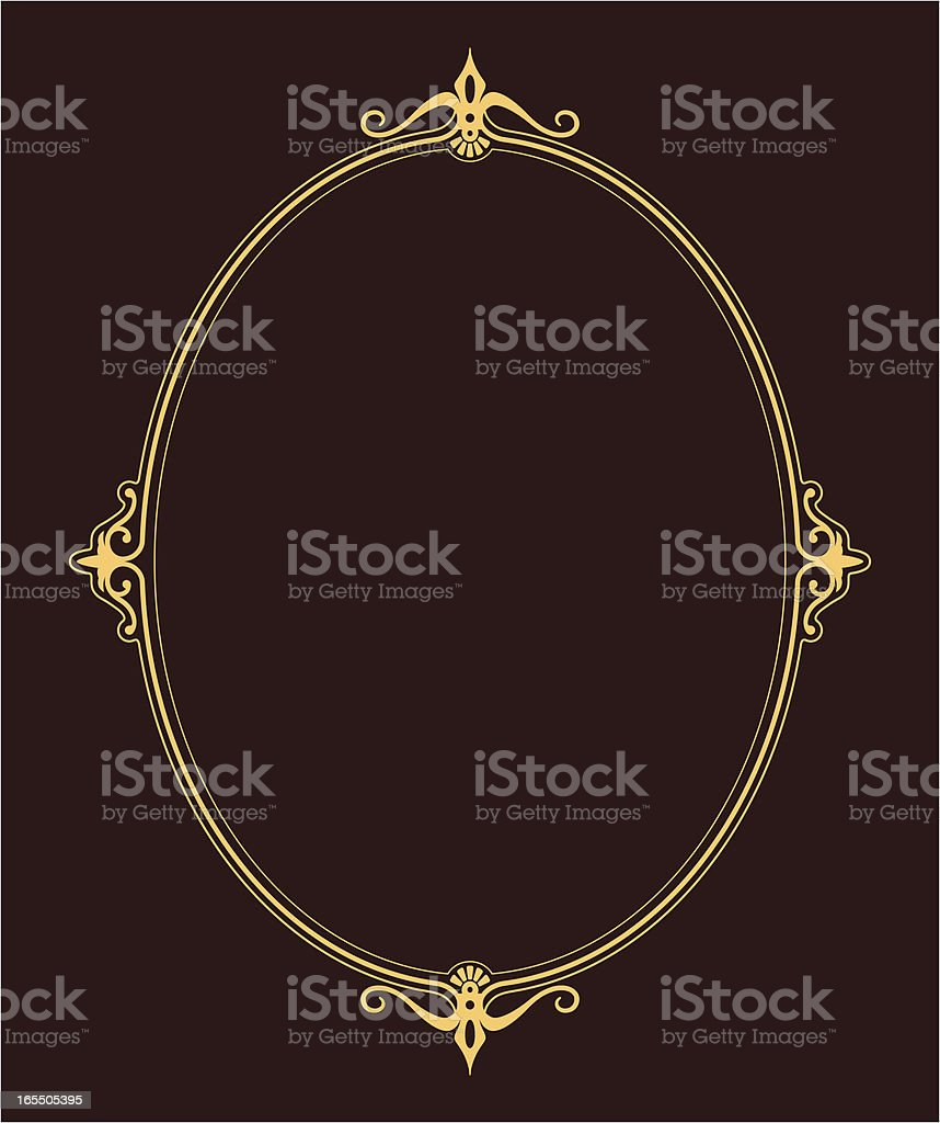 An illustration of an oval frame with brown background vector art illustration