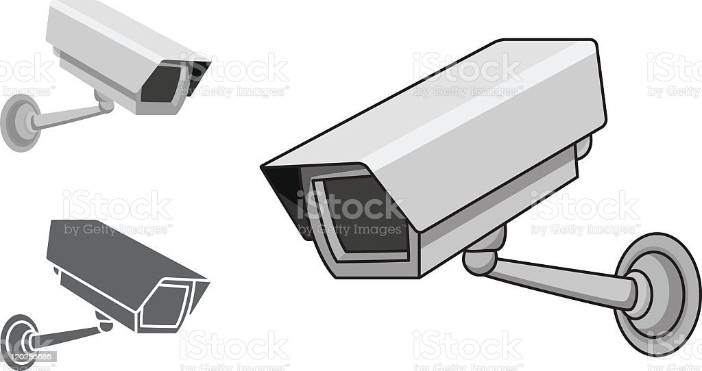 An illustration of CCTV operating cameras icons royalty-free stock vector art