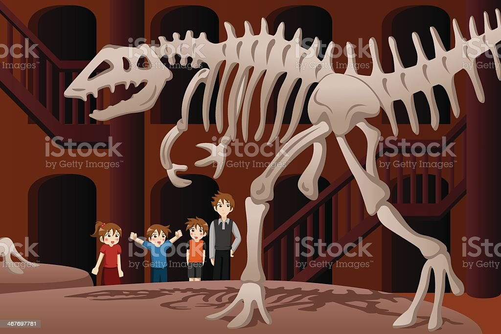 An illustration of children at a museum vector art illustration