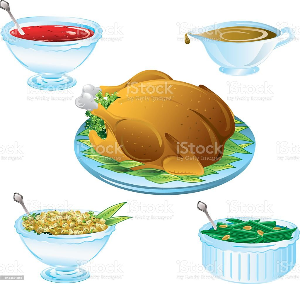 An illustration of delicious Thanksgiving dinner icons royalty-free stock vector art