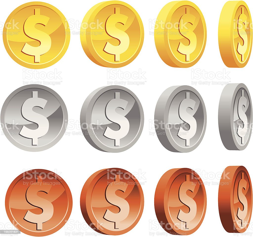 An illustration of dollar coins in various colors vector art illustration