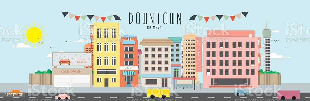 An illustration of down town in a city vector art illustration