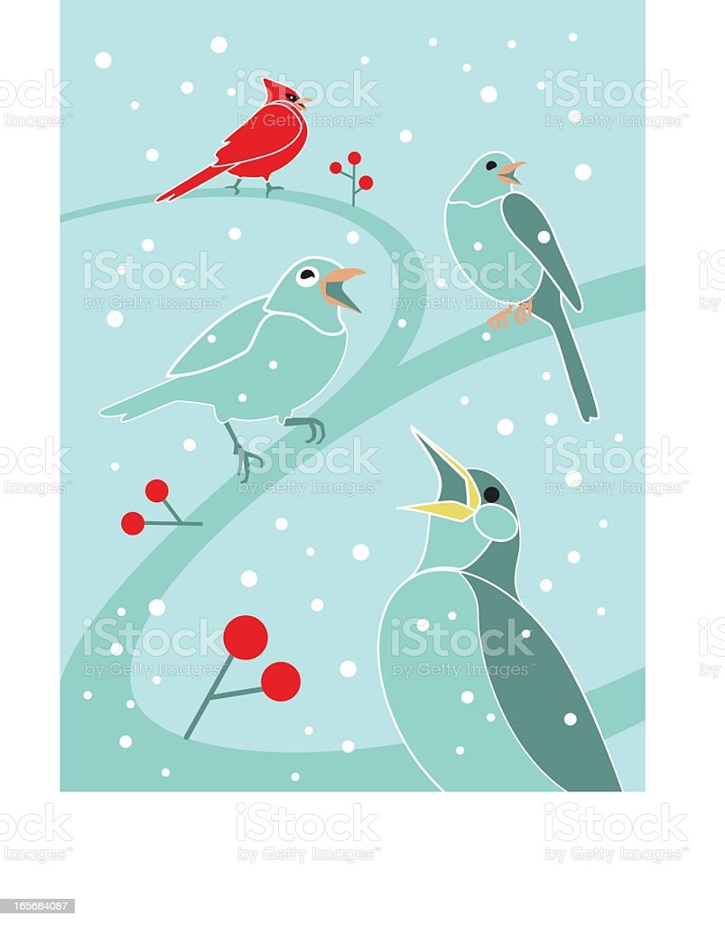 An illustration of four calling birds royalty-free stock vector art