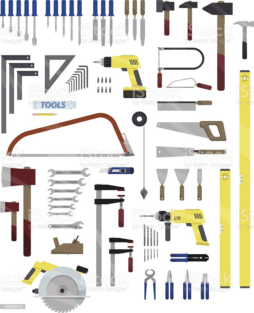 An illustration of household tools isolated on white vector art illustration