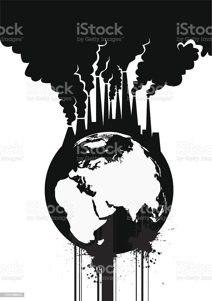 An illustration of how we pollute the earth royalty-free stock vector art