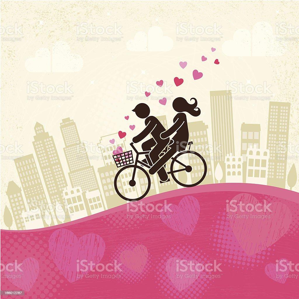 An illustration of lovers biking on a pink hill  vector art illustration