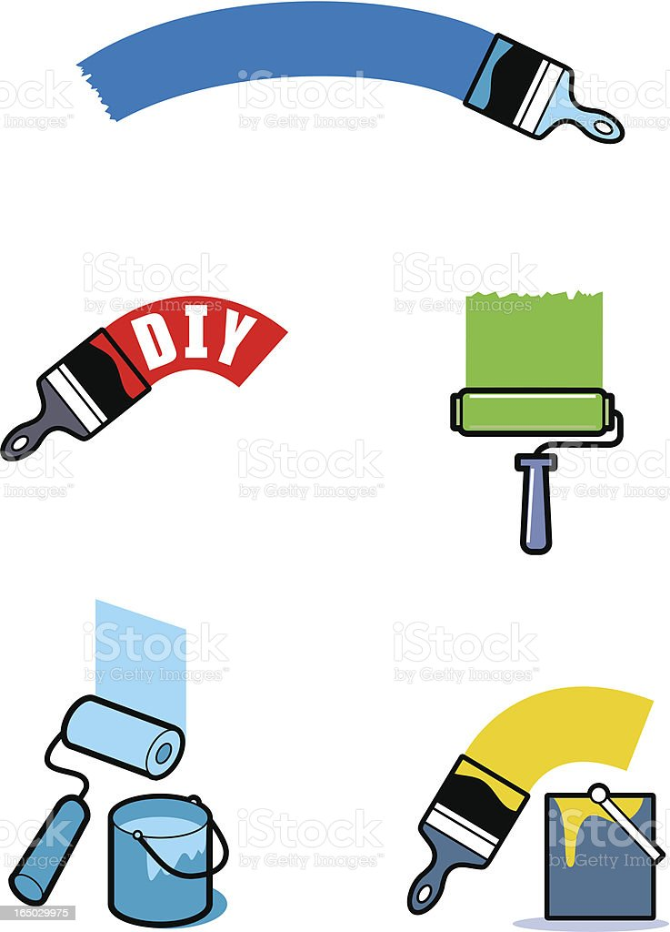 An illustration of paint brushes on various color royalty-free stock vector art