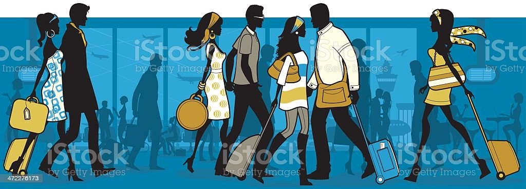 An illustration of people at the airport royalty-free stock vector art