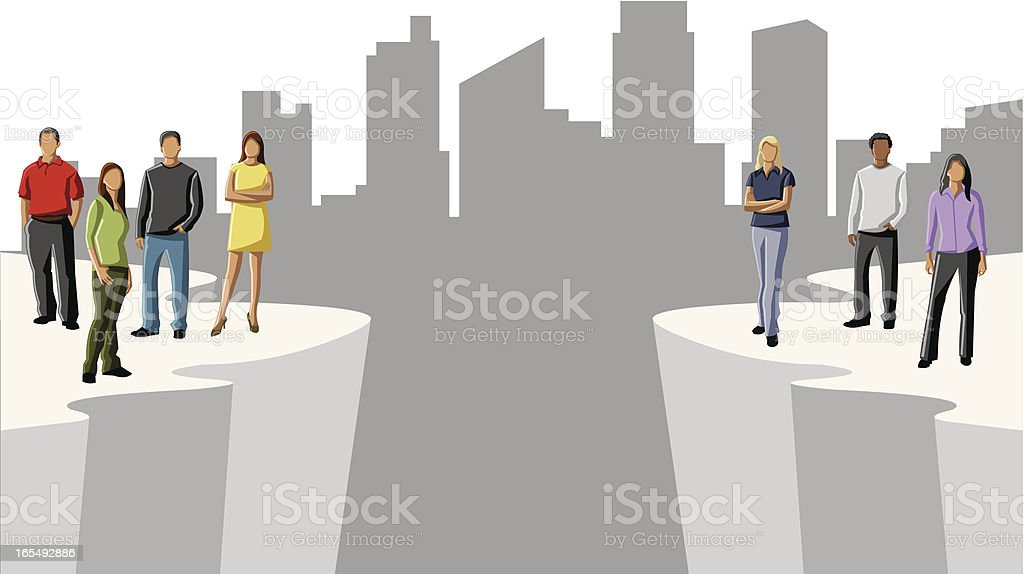 An illustration of people separated by an abyss vector art illustration